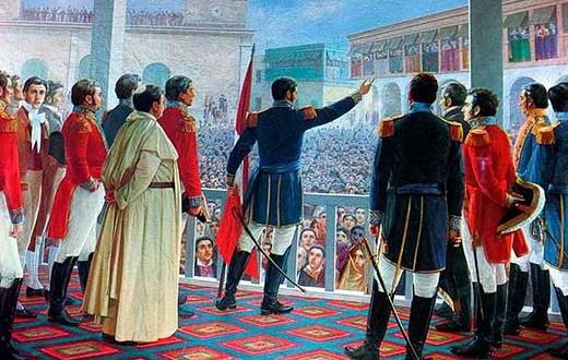 El general José de San Martín, en la Plaza de Armas de Lima, proclamando la independencia del Perú, el 28 de julio de 1821, en un cuadro del pintor peruano José Juan B. Lepiani.