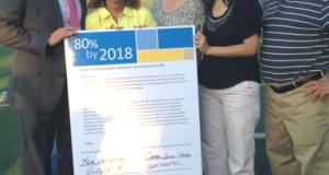 Iz-der. Daren Wu, Lindsey Farrell, presidenta de Open Door; Lea Cassarino, director de programas de Hudson Valley Cancer Services; Alvaro Carrascal, vice presidente de Health Systems del American Cancer Society en New York.
